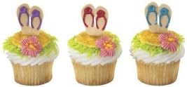 SANDALS Flip Flops LUAU Tropical Hawaiian Beach Party (12) Cupcake PICS ... - $3.91