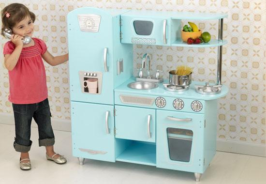 Kidkraft 53227 Blue Vintage Retro Kids Pretend Play Kitchen NEW