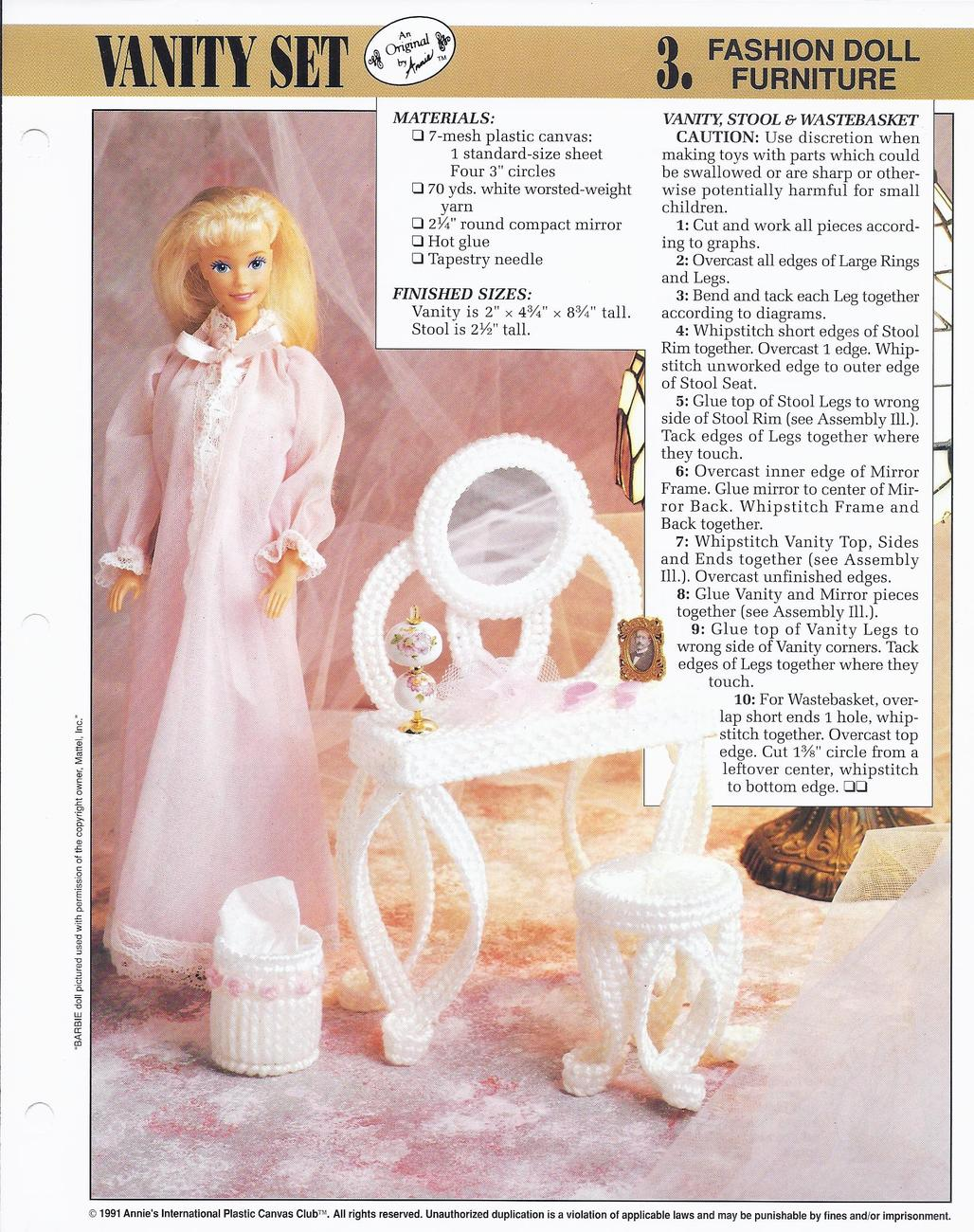 Primary image for Vanity Set~Fashion Doll Furniture Plastic Canvas Pattern~Annie's~1981