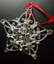 Lenox Christmas Ornament Sparkle and Scroll Snowflake Multi Crystal Silv... - $9.99