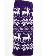 ICONOFLASH Girl's Cold Weather Raindeer and Snowflakes Leg Warmers, Purple - $14.84