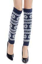 ICONOFLASH Women's Fairisle Snowflake Leg Warmer Boot Cuffs, Blue - €11,43 EUR
