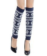 ICONOFLASH Women's Fairisle Snowflake Leg Warmer Boot Cuffs, Blue - €11,25 EUR
