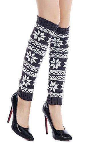 ICONOFLASH Women's Fairisle Snowflake Leg Warmer Boot Cuffs, Blue