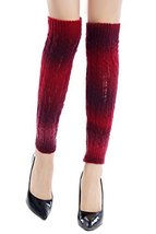 ICONOFLASH Women's Ombre Striped Knit Leg Warmer Boot Cuffs, Red - $12.86