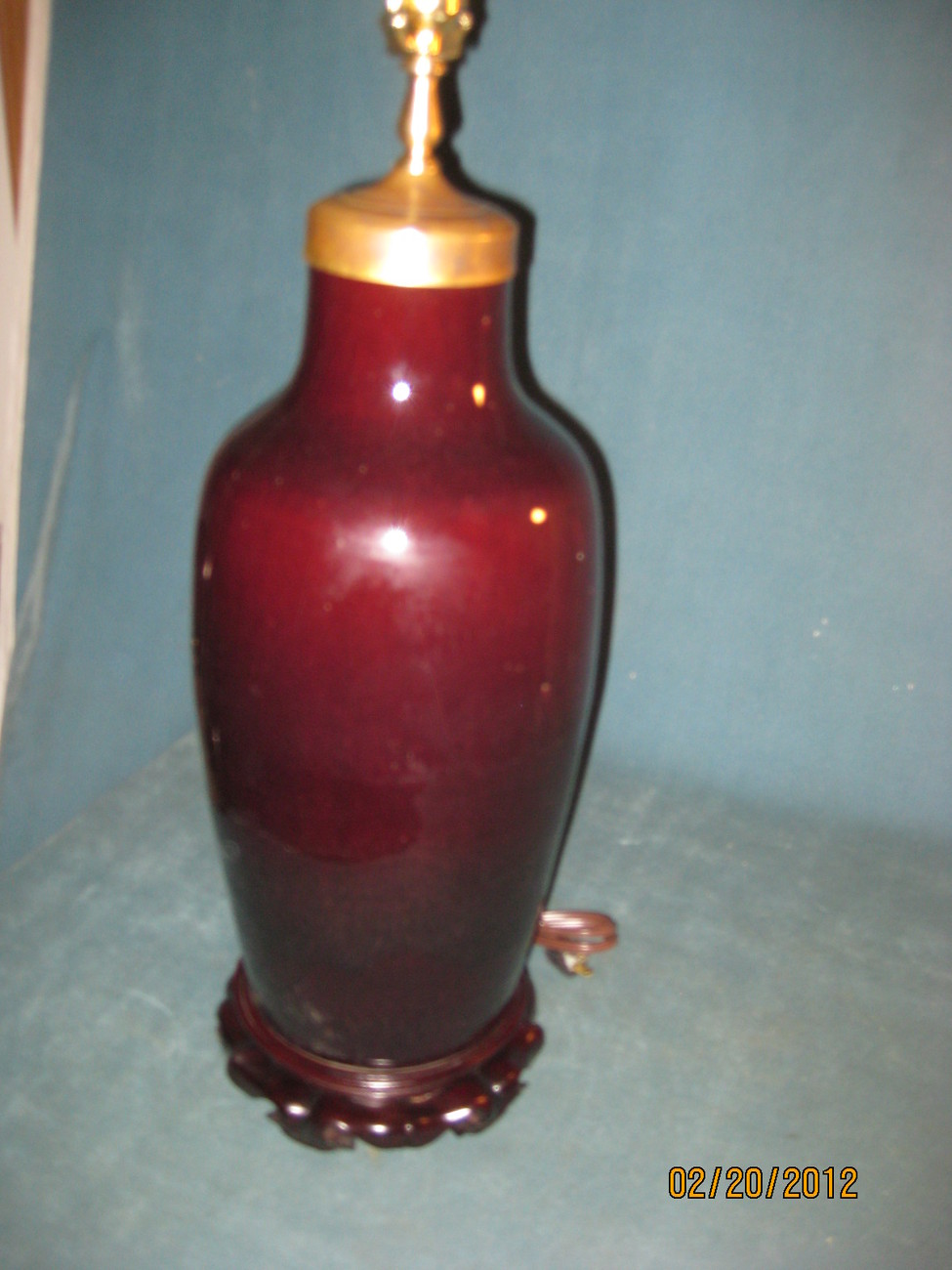Rare Chinese OxBlood, Sang De Boeuf glaze vase made into a table lamp