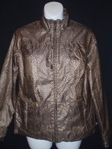 Zenergy Chicos Poly Zip Jacket Brown Gold Animal Print Size 0  4-6 Leopard - $34.27