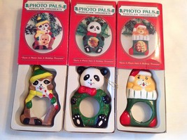 Vintage GIFTCO  3  Handcrafted Photo Pals Porcelain Christmas Ornaments - $58.41