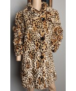 Incognita Faux Fur Leopard Animal Spotted Print Plush Soft Vegan Coat Ja... - $284.99