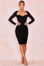 HOUSE OF CB 'Tavia' Black Ruched Mesh Midi Dress Size S 4-6/PN28 - $45.99