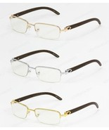 Cartier style Wood Buffs glasses sunglasses ROSE GOLD FRAMES WITH WOOD L... - $40.00