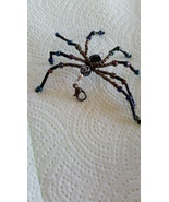 Glass Beaded Black Iridescent Spider Purse Zipper Backpack Charm  - $15.00