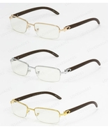 Cartier style Wood Buffs glasses sunglasses SILVER FRAMES WITH WOOD LOOK... - $40.00