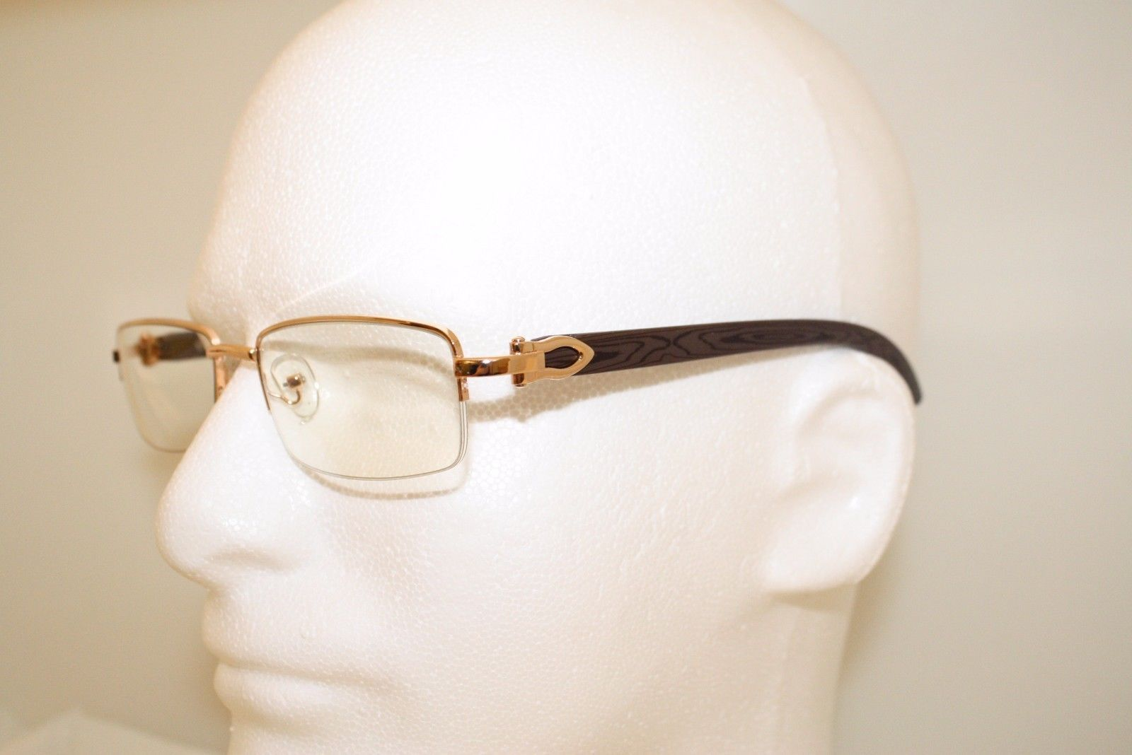 31dd346529d3 Cartier style Wood Buffs glasses sunglasses SILVER FRAMES WITH WOOD LOOK NEW