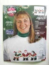NEW JANLYNN CROSS STITCH KIT for SANTA CLAUS TRIO CHRISTMAS for SWEATER ... - $3.80