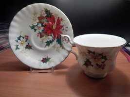 Royal Albert Poinsetta Cup and Saucer bone china England Free Shipping #1 - $51.99