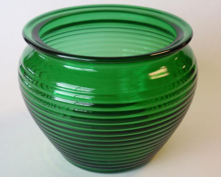 """Forest Green Ribbed Glass Florist Bowl Vase;Tobacco Jar-5"""" x 5¾"""";SHORT FLOWER"""