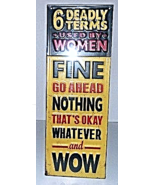 6 Deadly Terms Used By Women Antique Style New Wall Art Plaque Sign Home... - $15.00