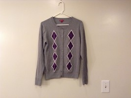 Merona Cotton Cardigan Sweater, size L, Gray with Purple Diamond Design on Front