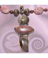 Handmade Sterling Silver Rhodonite Necklace with Pendant - $70.00