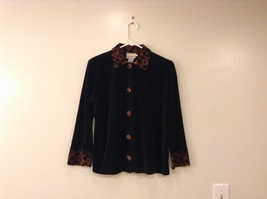 Coldwater Creek Black Velvet Animal Print Details Light Jacket Cardigan size S