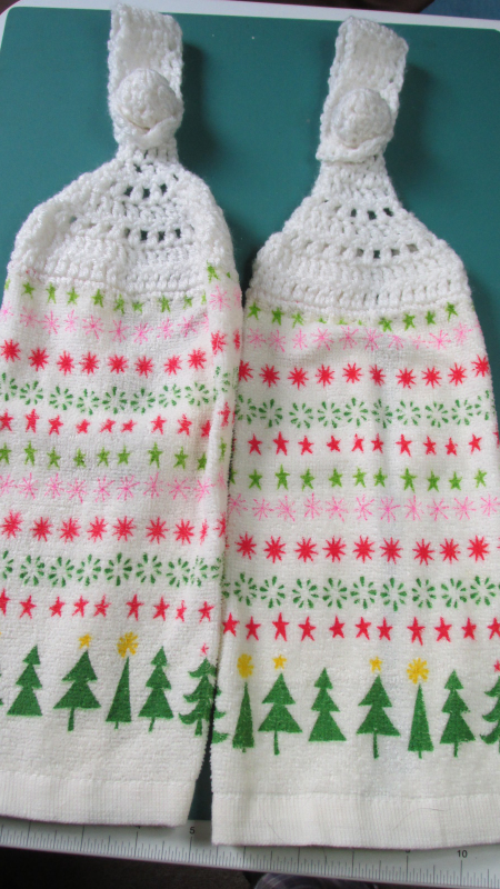 Christmas Trees Handmade Crocheted Top Hanging Kitchen Towels
