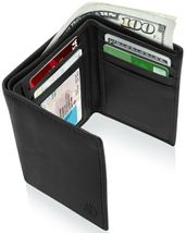 Genuine Leather Wallets For Men Trifold Mens Wallet With ID Window RFID ... - $30.58
