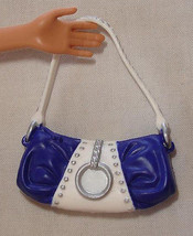 Barbie doll blue and white purse with silver decor - $7.99