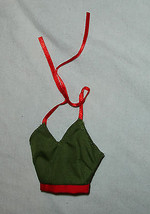 Barbie doll clothes olive green halter top trimmed in holiday red - $6.99