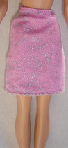 Barbie doll clothes slim skirt with glittery net overlay pinkish color - $6.99