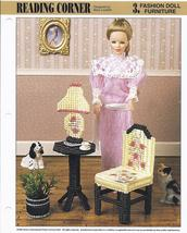 Reading Corner Fashion Doll Furniture Plastic Canvas Pattern~Annie's~1994 - $3.00