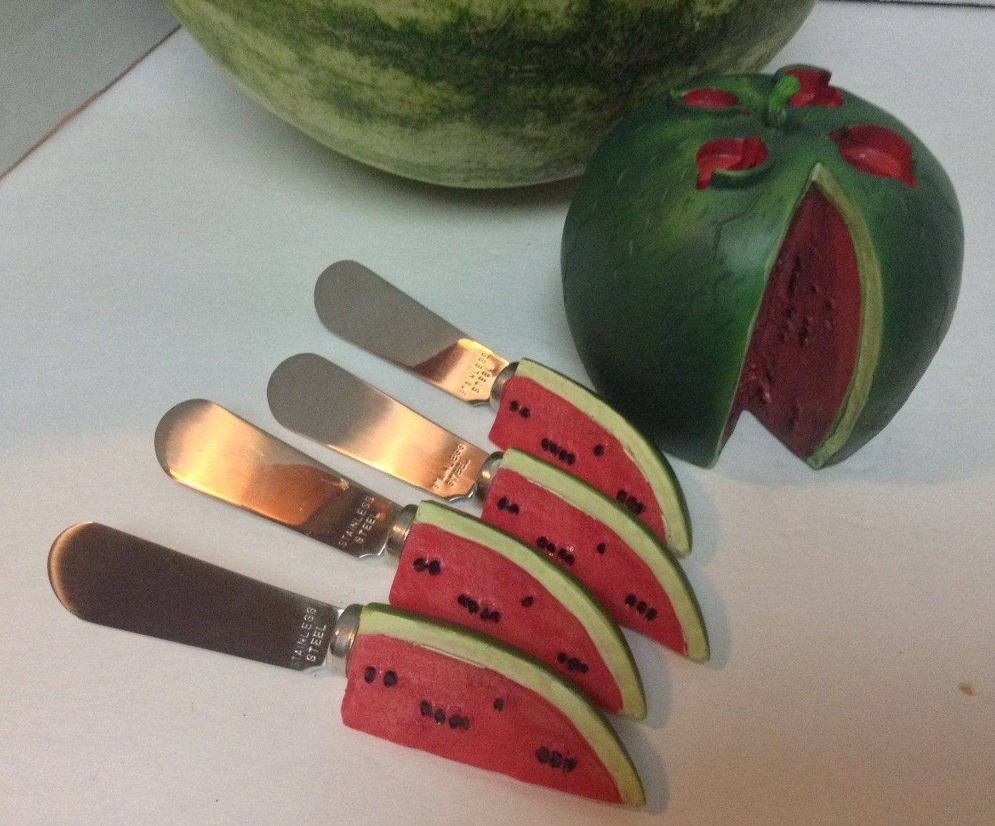 Hostess Watermelon Knife Set & Holder Stainless Steel NIB
