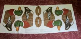 "Vintage ""Wild Bird Collection"" MALLARD DUCK Fabric Pillow Panel - Makes 2 - $9.99"