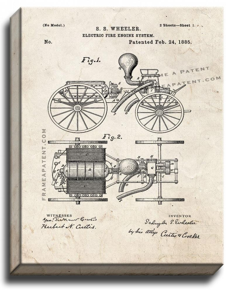 Primary image for Electric Fire-engine System Patent Print Old Look on Canvas