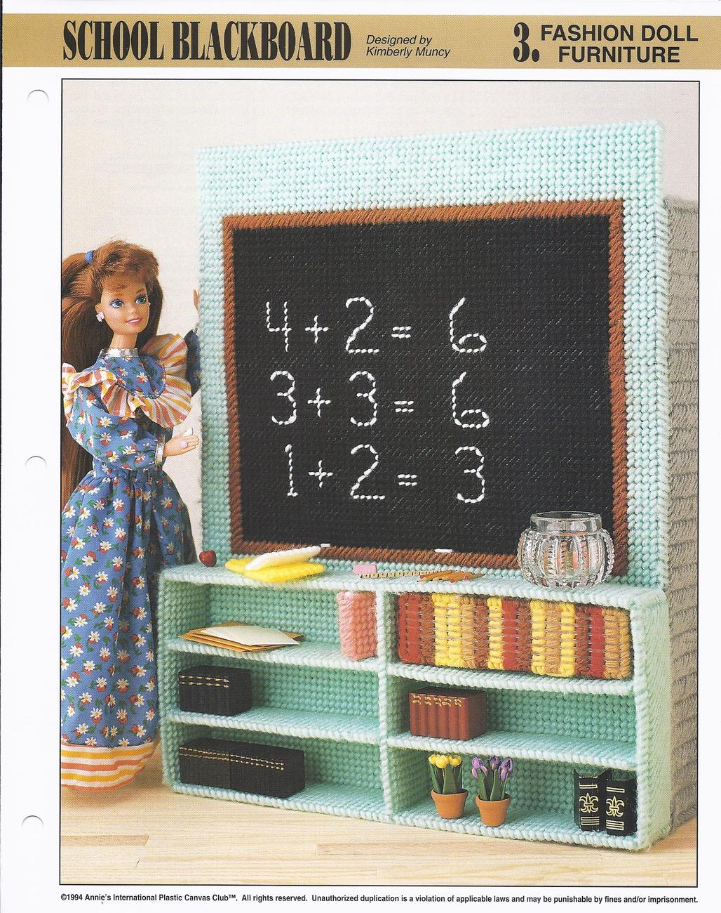 Primary image for School Blackboard Fashion Doll Furniture Plastic Canvas Pattern~Annie's~1994