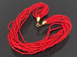 Vintage Jewelry 11 Strands Red Stone Bead Necklace 17'' Length - $18.00