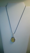 Square Yellow Glass Pendant On Black Cord - $6.50