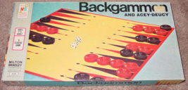 BACKGAMMON & ACEY DEUCY GAME 1973 MILTON BRADLEY #4319 COMPLETE EXCELLENT - $12.00