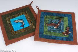 "Wildlife Potholders Trout & Eagles Batik Fabric Set of 2 10"" Handmade Ne... - $8.56"