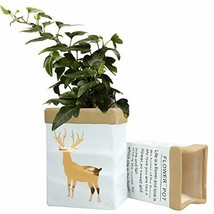 Deer Ceramic Plant Flower Pot-Garden Planters Pack 2 Indoor Plant Contai... - $18.05