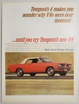 1963 Print Ad Wide-Track Pontiac Tempest Red with V-8 Engine  - $16.81