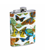 1960s Or 70s Mod Butterflies 1  D304 Flask 8oz Stainless Steel - $9.85