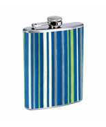 1960s or 70s Mod Wallpaper 104 D281 Flask 8oz Stainless Steel  Blue Stripes - $9.85