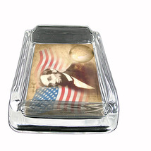 Abraham Lincoln Glass Ashtray D 06 American President Activist Lawyer Approx 4x3 - $9.85