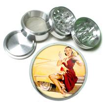 Aluminum Herb Tobacco 4pc Grinder Classic Vintage Model Pin Up Girl Design-093 - $12.40