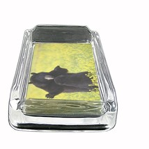 """Black Bear Glass Ashtray D9 4""""x3"""" Nature, wild, forest, grizzly - $9.85"""