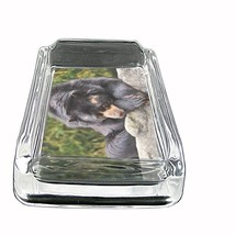 """Black Bear Glass Ashtray D5 4""""x3"""" Nature, wild, forest, grizzly - $9.85"""