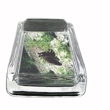 """Black Bear Glass Ashtray D2 4""""x3"""" Nature, wild, forest, grizzly - $9.85"""