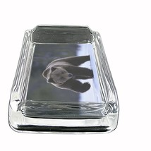 """Black Bear Glass Ashtray D3 4""""x3"""" Nature, wild, forest, grizzly - $9.85"""