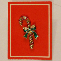 New in Box 1980s Vintage Candy Cane Pin Red & Green Christmas in July Jewelry - $14.80
